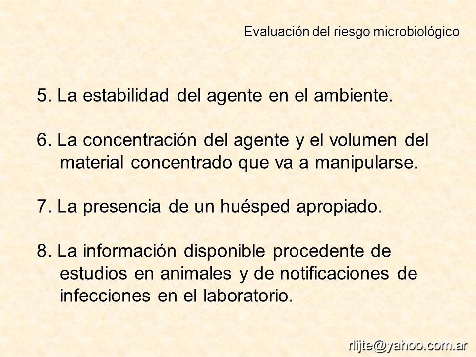 5. La estabilidad del agente en el ambiente.