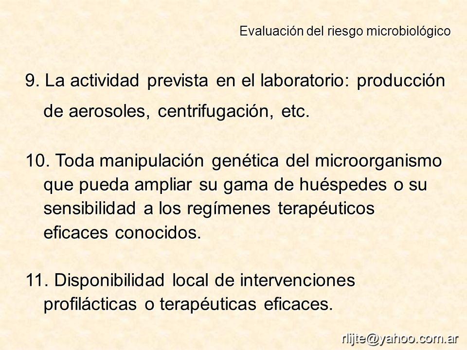 Evaluación del riesgo microbiológico