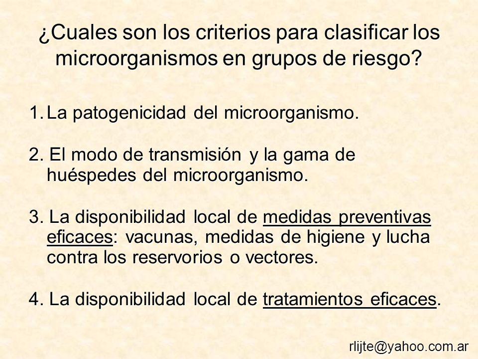 ¿Cuales son los criterios para clasificar los microorganismos en grupos de riesgo