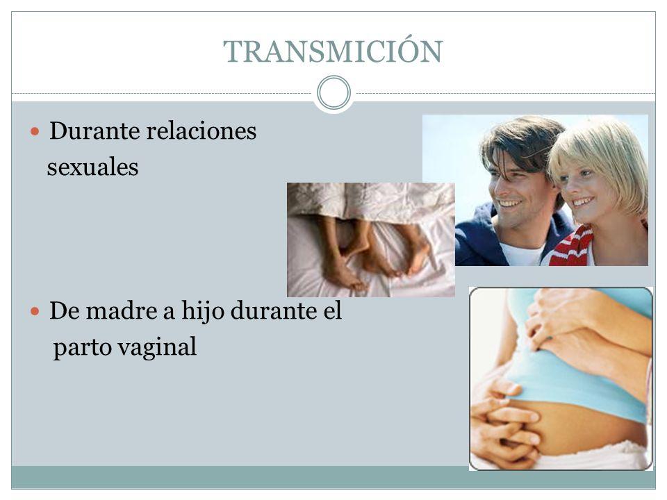TRANSMICIÓN Durante relaciones sexuales De madre a hijo durante el