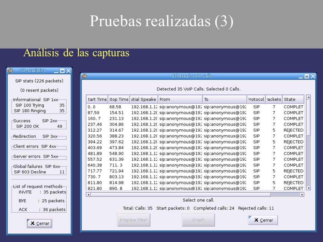 Pruebas realizadas (3) Análisis de las capturas