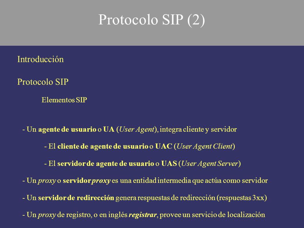 Protocolo SIP (2) Introducción Protocolo SIP Elementos SIP