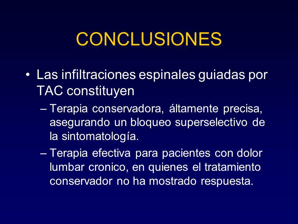 CONCLUSIONES Las infiltraciones espinales guiadas por TAC constituyen