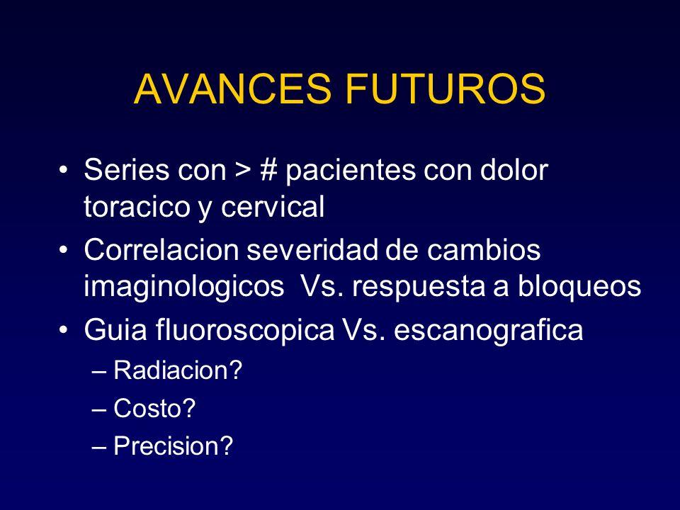 AVANCES FUTUROS Series con > # pacientes con dolor toracico y cervical. Correlacion severidad de cambios imaginologicos Vs. respuesta a bloqueos.