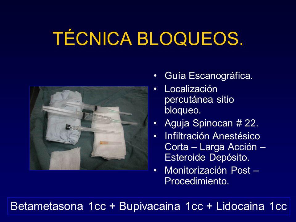 TÉCNICA BLOQUEOS. Betametasona 1cc + Bupivacaina 1cc + Lidocaina 1cc