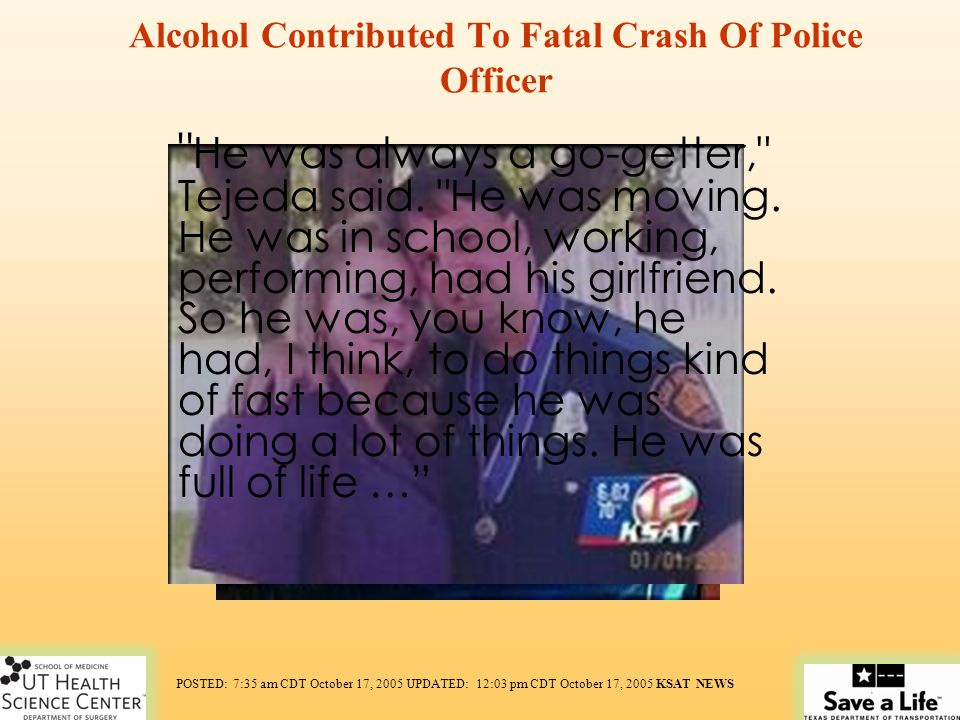Alcohol Contributed To Fatal Crash Of Police Officer
