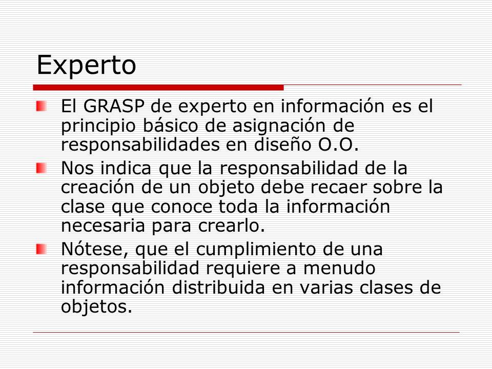 Experto El GRASP de experto en información es el principio básico de asignación de responsabilidades en diseño O.O.