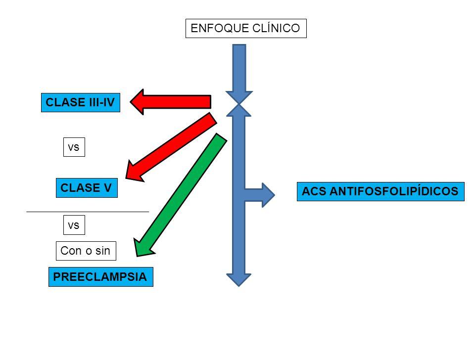 ENFOQUE CLÍNICO CLASE III-IV vs CLASE V ACS ANTIFOSFOLIPÍDICOS vs Con o sin PREECLAMPSIA