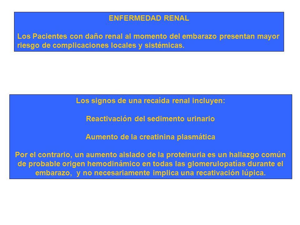 Los signos de una recaída renal incluyen: