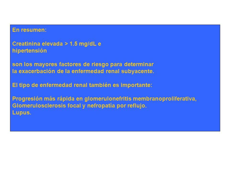 En resumen: Creatinina elevada > 1.5 mg/dL e. hipertensión. son los mayores factores de riesgo para determinar.