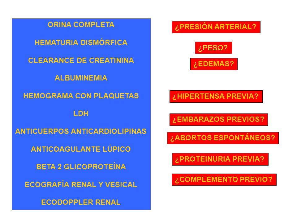CLEARANCE DE CREATININA ALBUMINEMIA HEMOGRAMA CON PLAQUETAS LDH