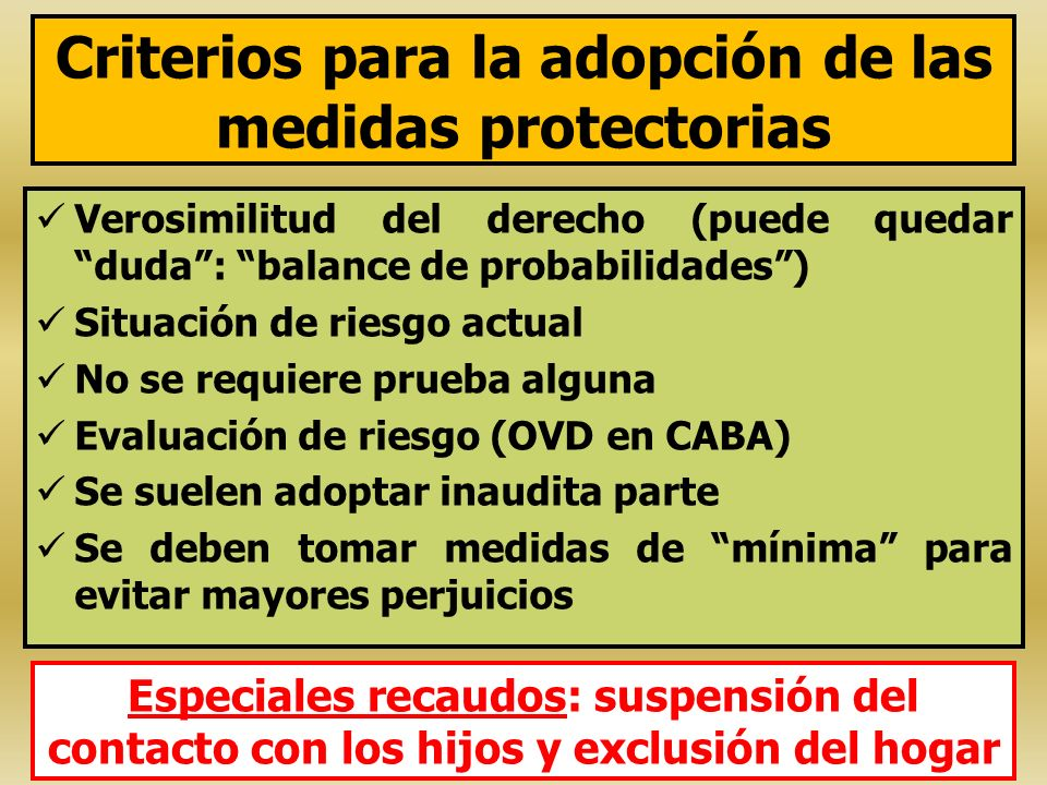 Criterios para la adopción de las medidas protectorias