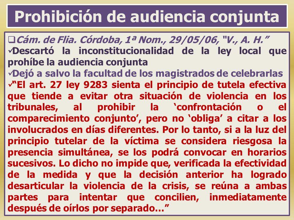 Prohibición de audiencia conjunta