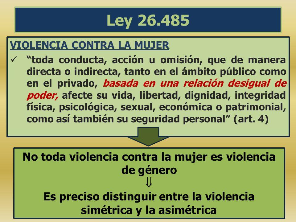 Ley 26.485 No toda violencia contra la mujer es violencia de género 