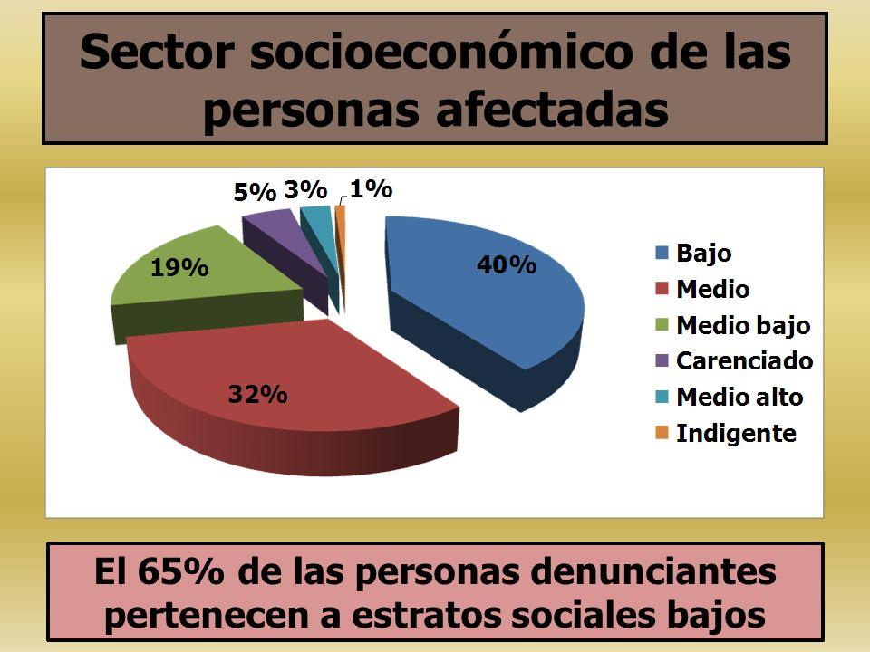 Sector socioeconómico de las personas afectadas
