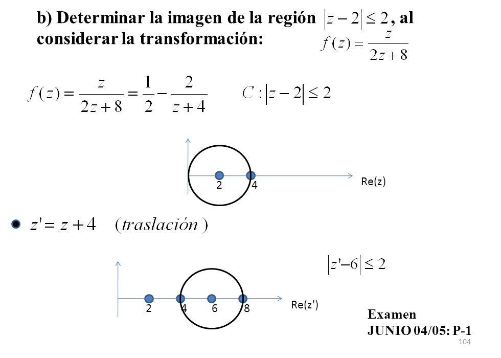 b) Determinar la imagen de la región , al considerar la transformación: