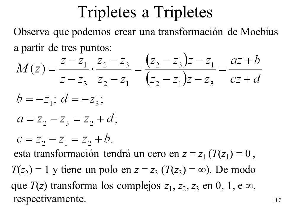 Tripletes a Tripletes Observa que podemos crear una transformación de Moebius. a partir de tres puntos: