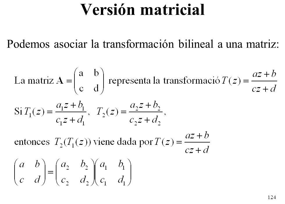 Versión matricial Podemos asociar la transformación bilineal a una matriz: