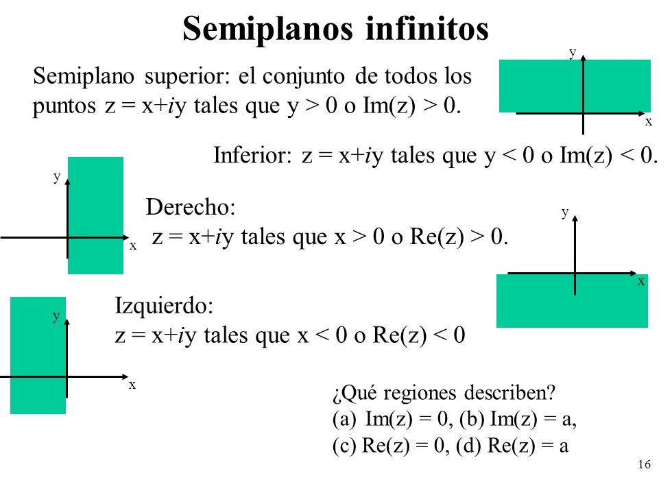 Semiplanos infinitos Semiplano superior: el conjunto de todos los