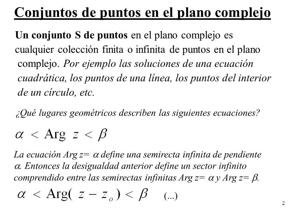 Conjuntos de puntos en el plano complejo