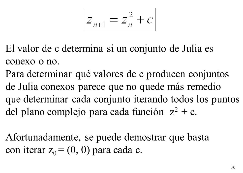 El valor de c determina si un conjunto de Julia es conexo o no.