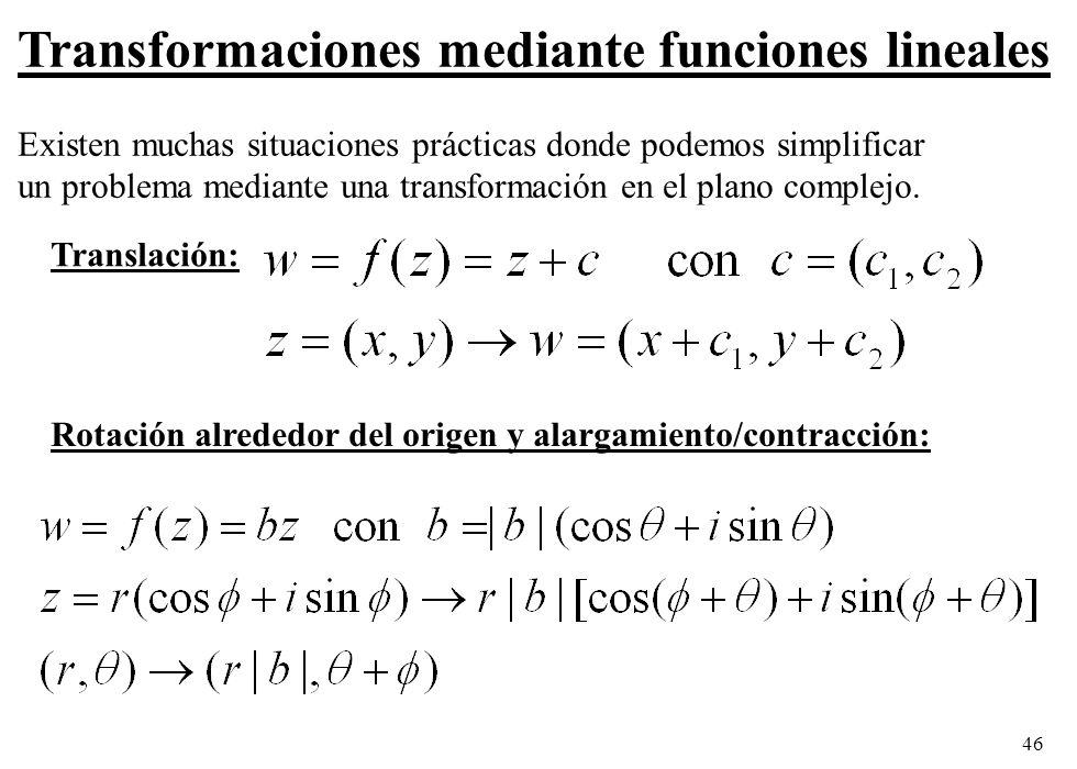 Transformaciones mediante funciones lineales