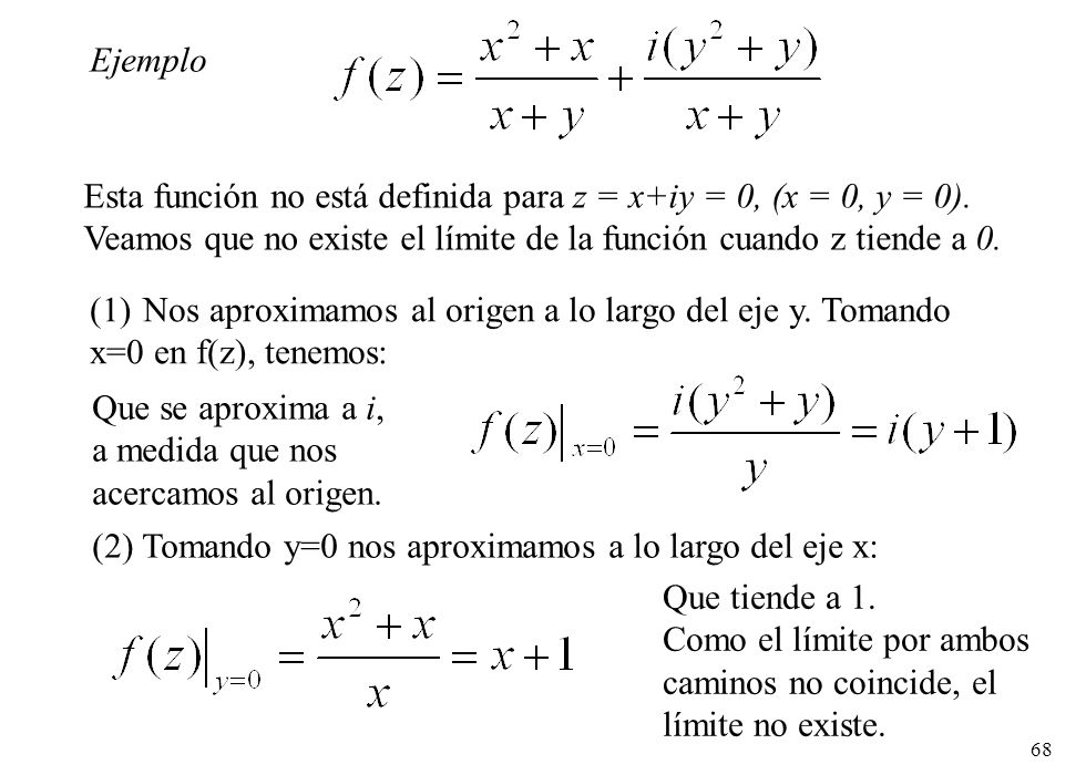 Ejemplo Esta función no está definida para z = x+iy = 0, (x = 0, y = 0). Veamos que no existe el límite de la función cuando z tiende a 0.