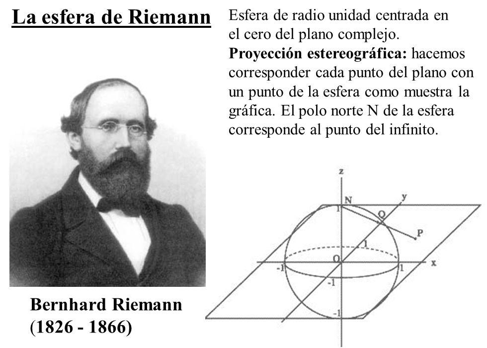 La esfera de Riemann Bernhard Riemann (1826 - 1866)