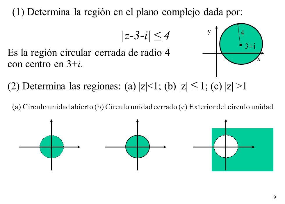 (1) Determina la región en el plano complejo dada por: |z-3-i| ≤ 4