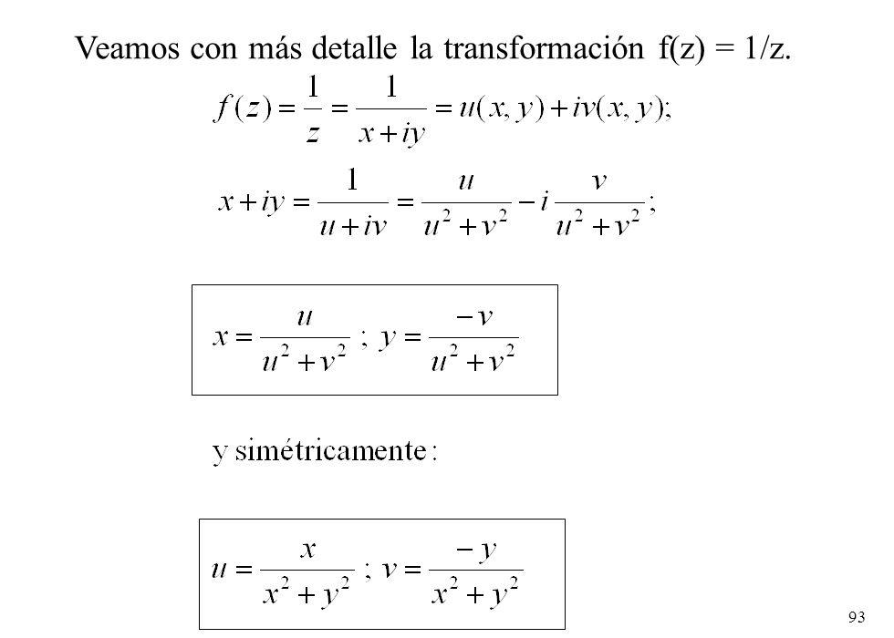 Veamos con más detalle la transformación f(z) = 1/z.