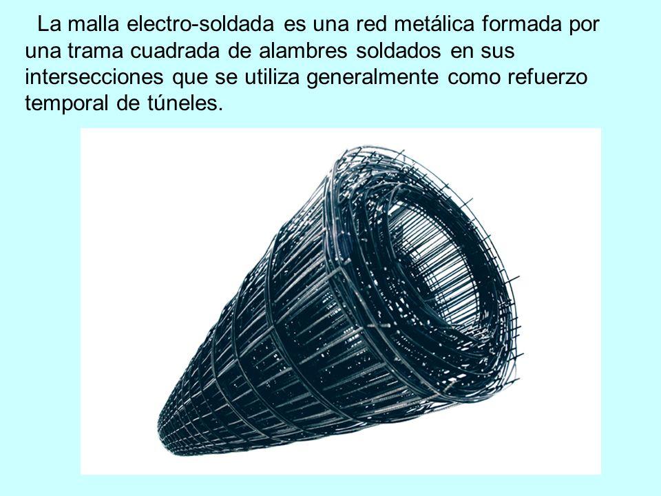 La malla electro-soldada es una red metálica formada por una trama cuadrada de alambres soldados en sus intersecciones que se utiliza generalmente como refuerzo temporal de túneles.