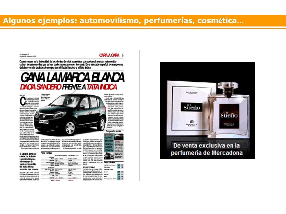 Algunos ejemplos: automovilismo, perfumerías, cosmética…