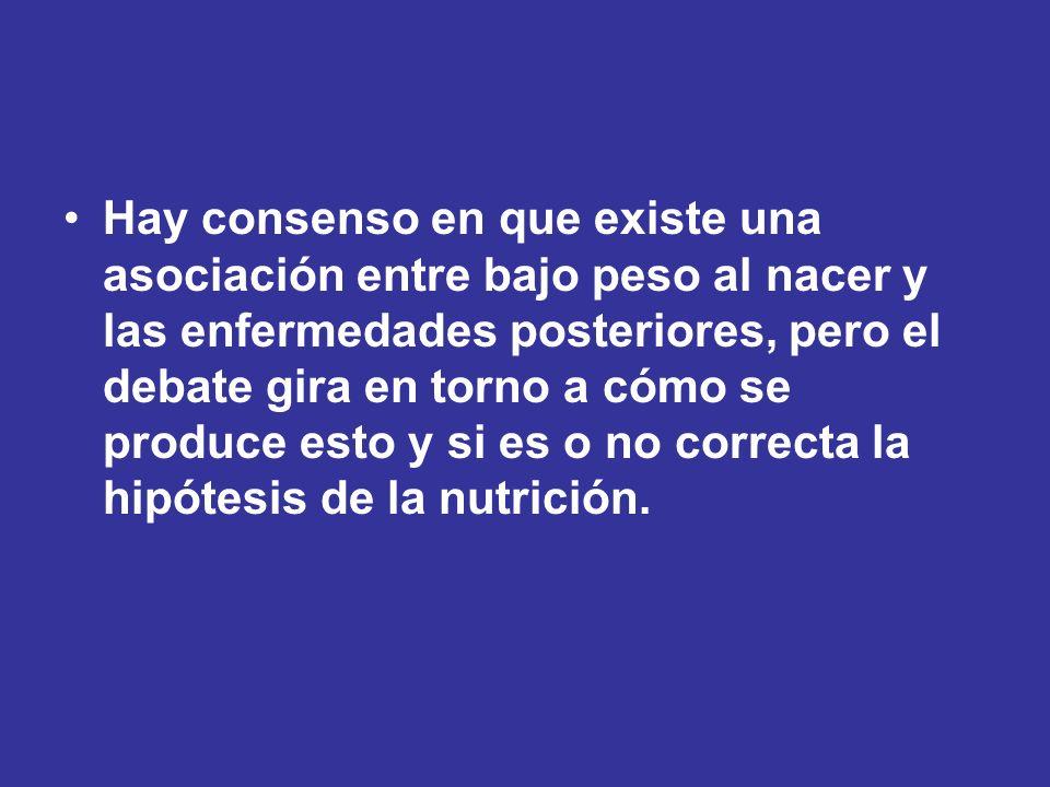 Hay consenso en que existe una asociación entre bajo peso al nacer y las enfermedades posteriores, pero el debate gira en torno a cómo se produce esto y si es o no correcta la hipótesis de la nutrición.
