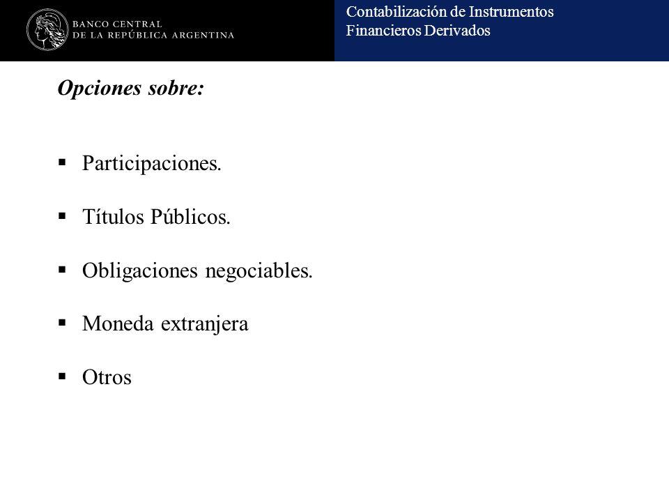 Opciones sobre: Participaciones. Títulos Públicos.