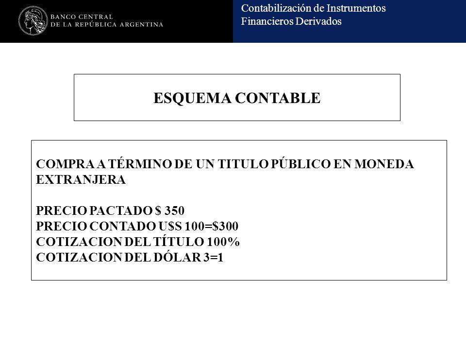 ESQUEMA CONTABLE COMPRA A TÉRMINO DE UN TITULO PÚBLICO EN MONEDA