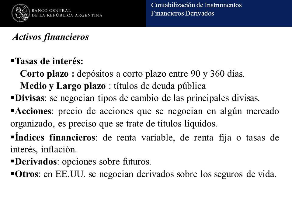 Activos financieros Tasas de interés: Corto plazo : depósitos a corto plazo entre 90 y 360 días. Medio y Largo plazo : títulos de deuda pública.