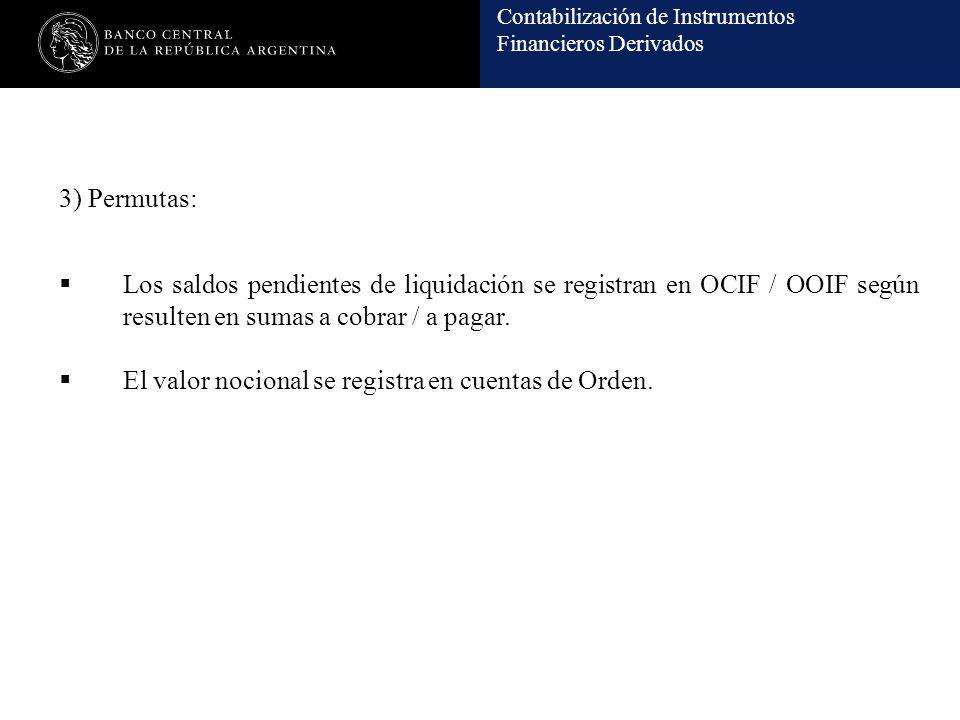 3) Permutas: Los saldos pendientes de liquidación se registran en OCIF / OOIF según resulten en sumas a cobrar / a pagar.