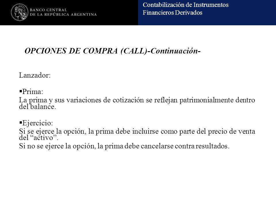 OPCIONES DE COMPRA (CALL)-Continuación-