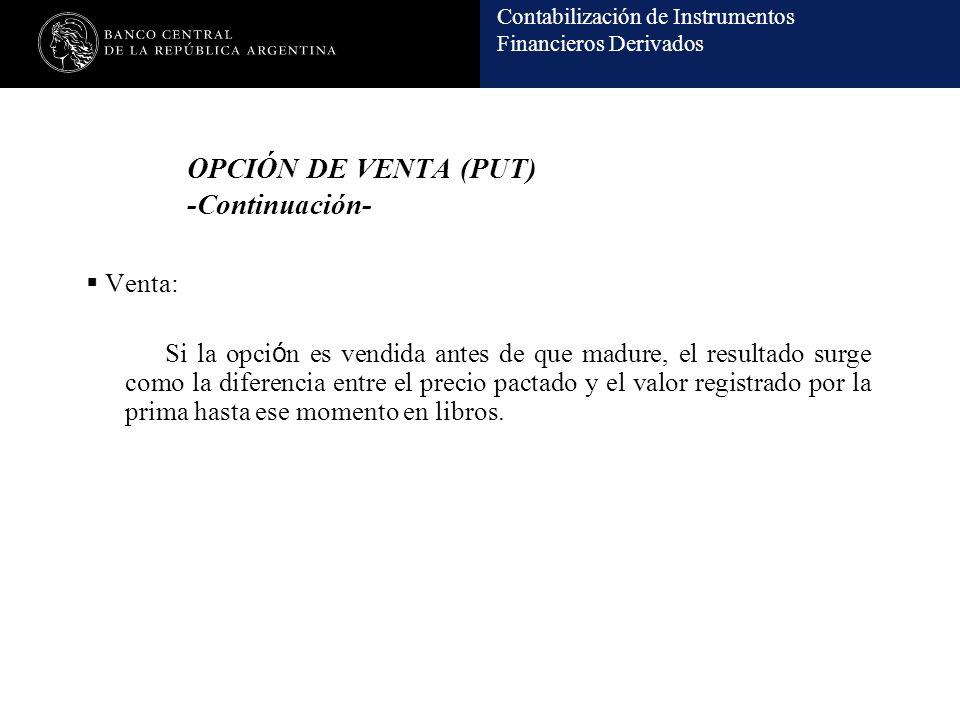 OPCIÓN DE VENTA (PUT) -Continuación-