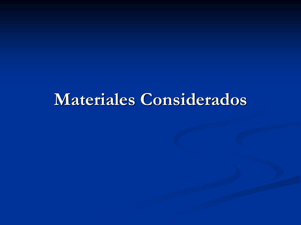 Materiales Considerados