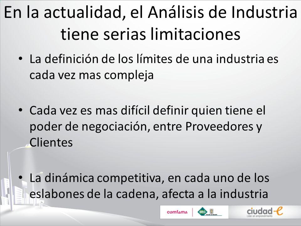 En la actualidad, el Análisis de Industria tiene serias limitaciones