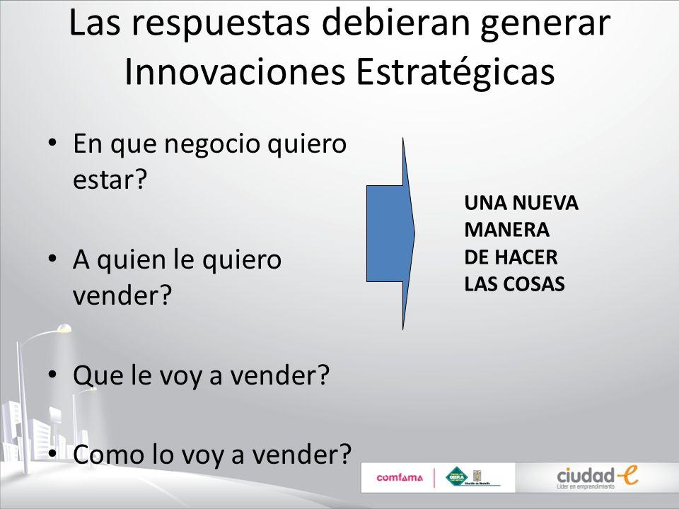Las respuestas debieran generar Innovaciones Estratégicas