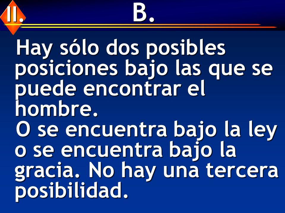 B. II. Hay sólo dos posibles posiciones bajo las que se puede encontrar el hombre.