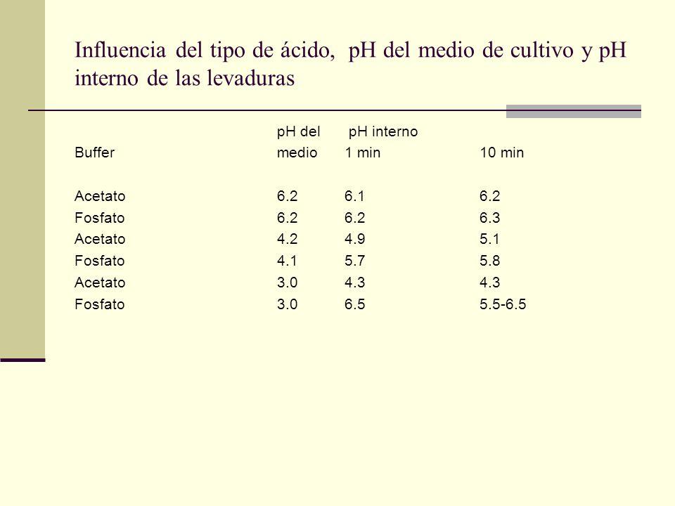 Influencia del tipo de ácido, pH del medio de cultivo y pH interno de las levaduras