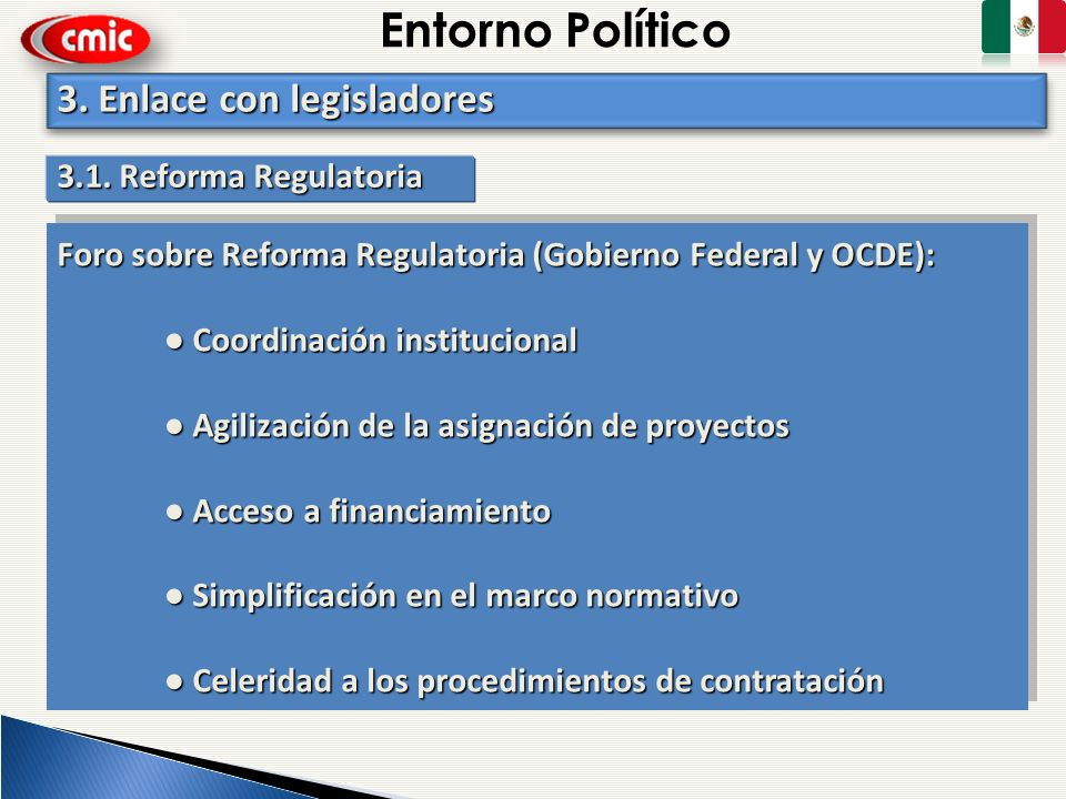 Entorno Político 3. Enlace con legisladores 3.1. Reforma Regulatoria
