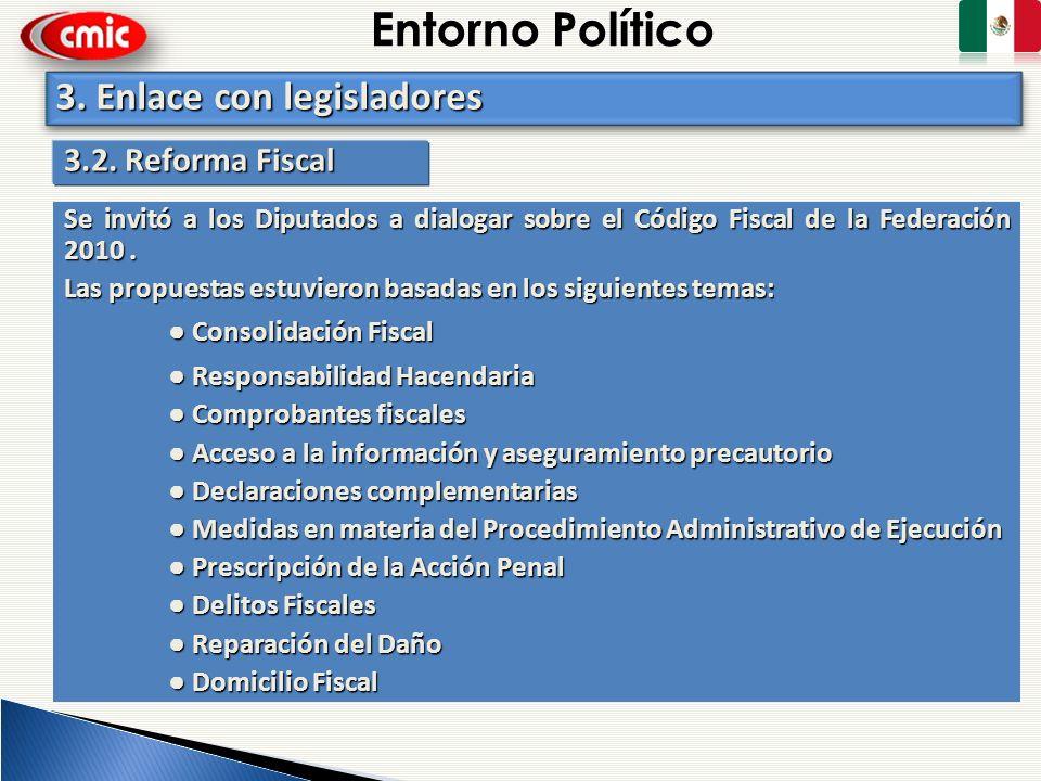 Entorno Político 3. Enlace con legisladores 3.2. Reforma Fiscal