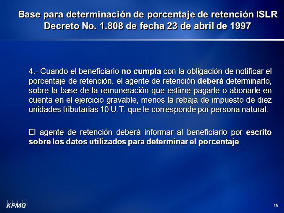 Base para determinación de porcentaje de retención ISLR Decreto No. 1