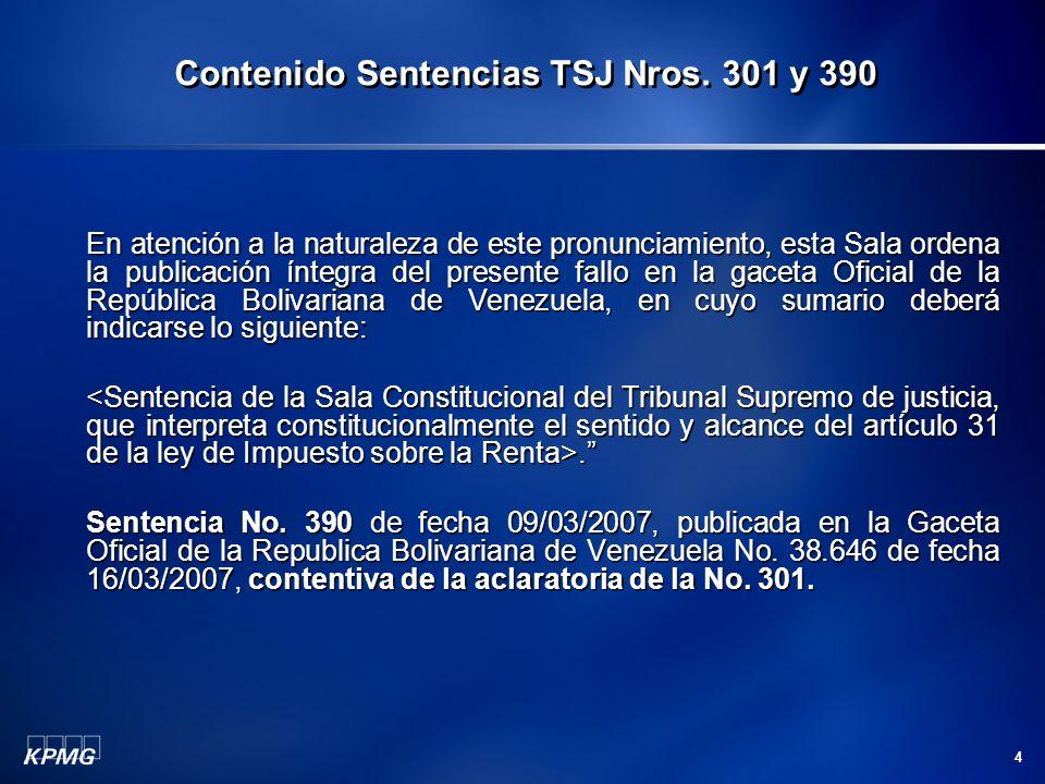 Contenido Sentencias TSJ Nros. 301 y 390