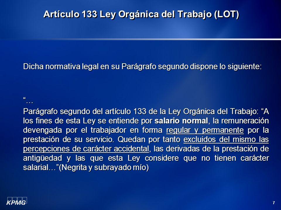 Artículo 133 Ley Orgánica del Trabajo (LOT)