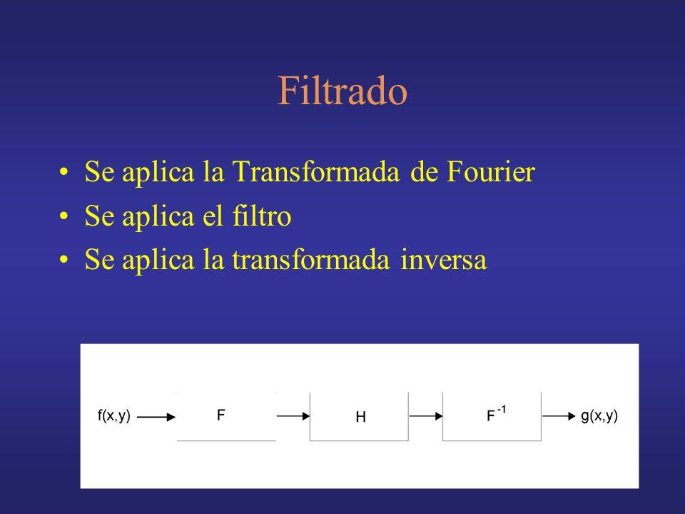 Filtrado Se aplica la Transformada de Fourier Se aplica el filtro